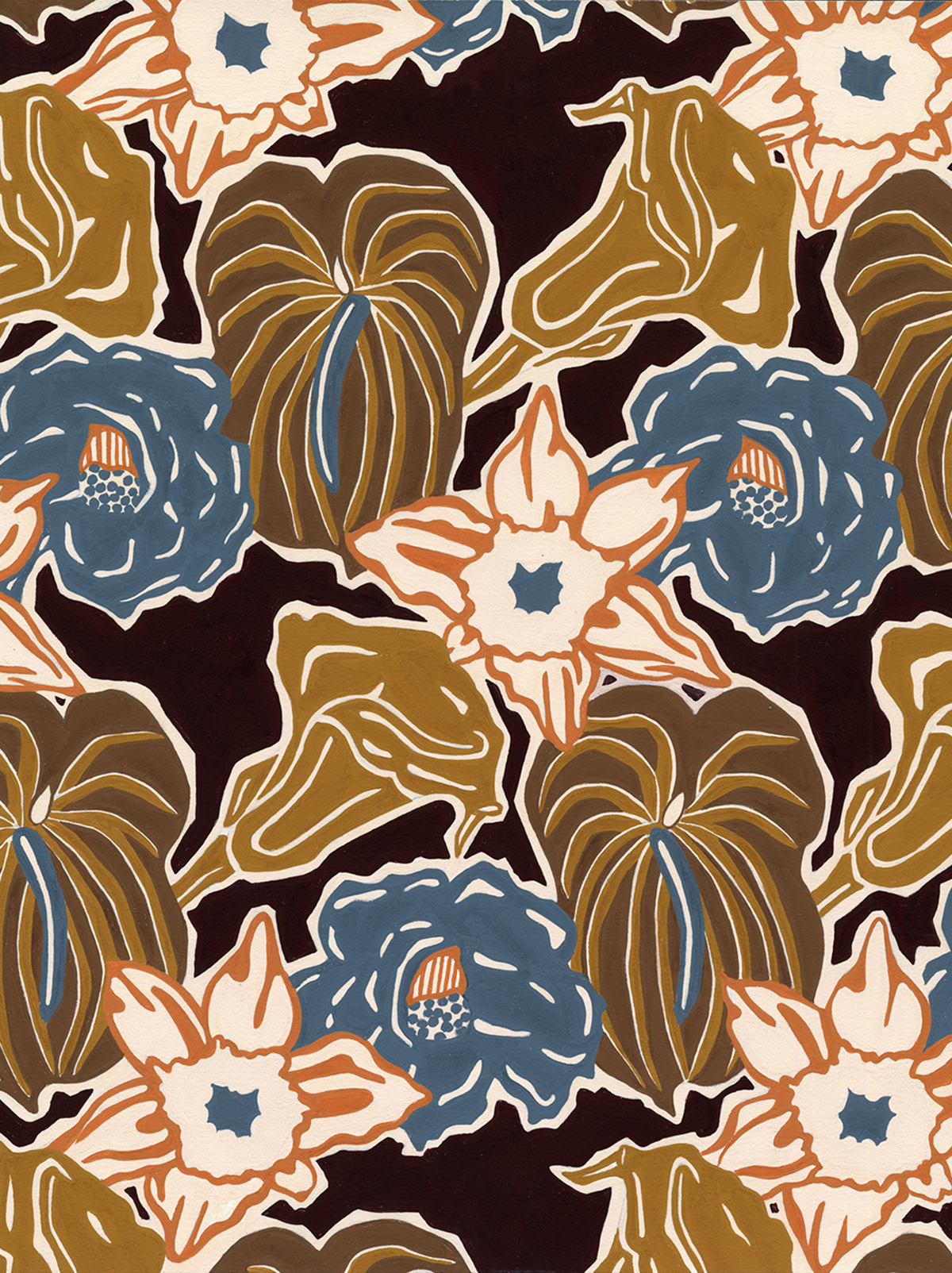 Woodcut Floral warm #118