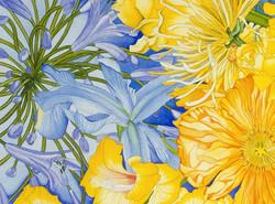 Sunburst vignette blue and yellow #46