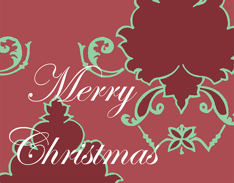 Merry Christmas holiday damask #131