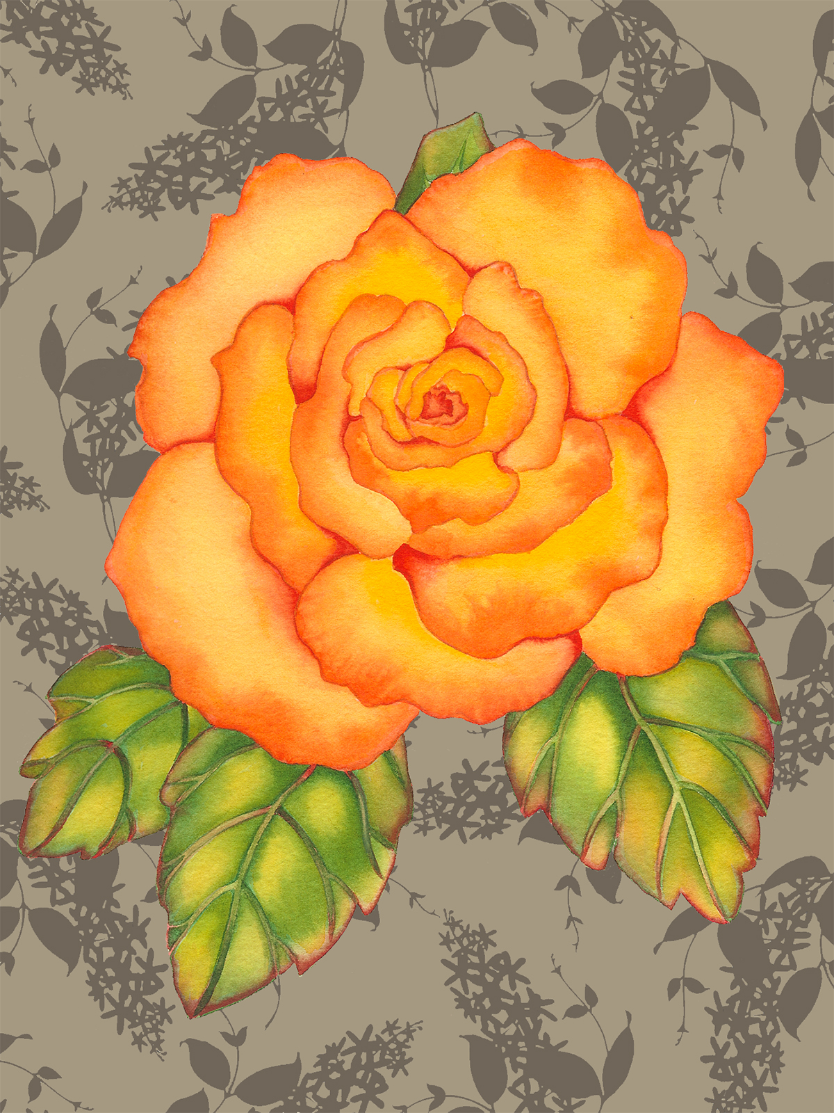 Orange Rose on Lilacs #69