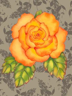 Orange Rose on Lilacs #69