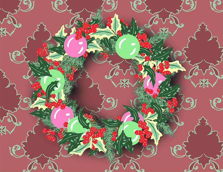 Holly Wreath on Damask #3