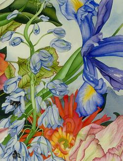 Delphinium and Iris vignette #107