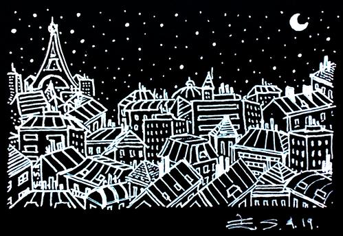 Les toits de Paris en noir et blanc, vision nuit
