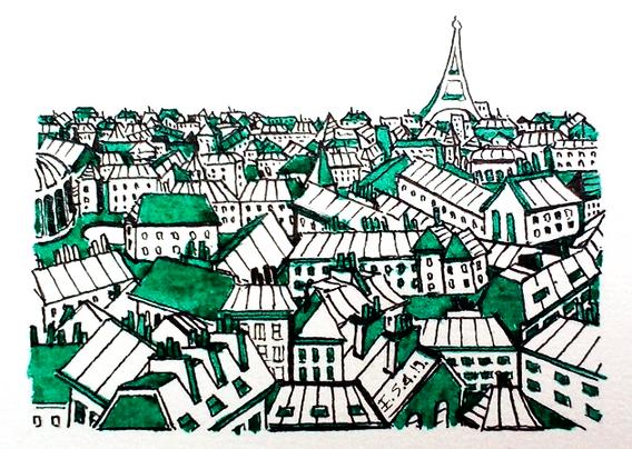 Les toits de Paris en vert