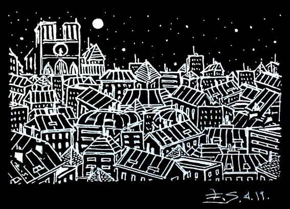 paris Notre Dame nuit étoilée