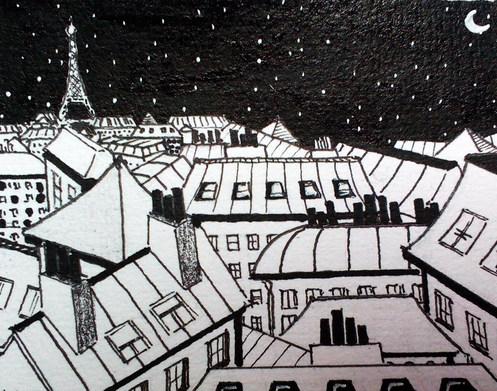 Les toits de Paris - noir et blanc