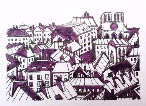 Les toits de Paris - Notre Dame- vision en violet