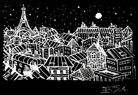 La Tour Eiffel en noir et blanc