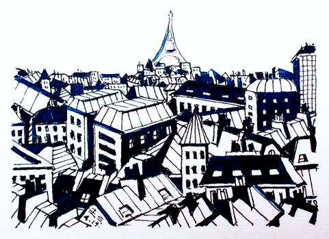 La Tour Eiffel et les toits de Paris version bleue