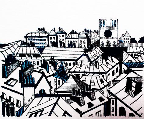 Les toits de Paris - vue sur la cathédrale blanche