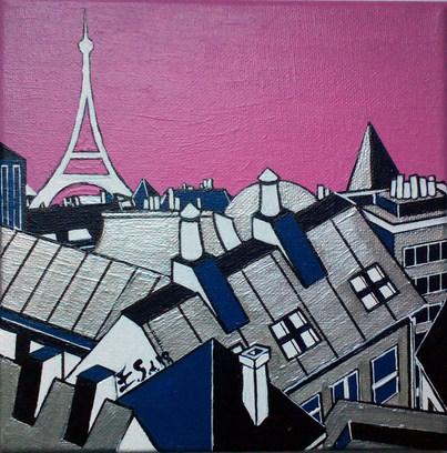 Les toits de Paris - le ciel en rose
