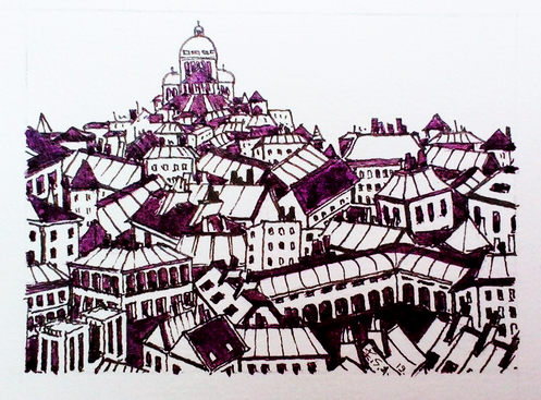 Les toits de Paris en violet