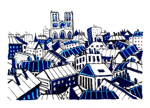 Les toits de Paris en bleu et blanc
