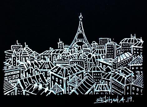 Paris en noir et blanc - nuit étoilée