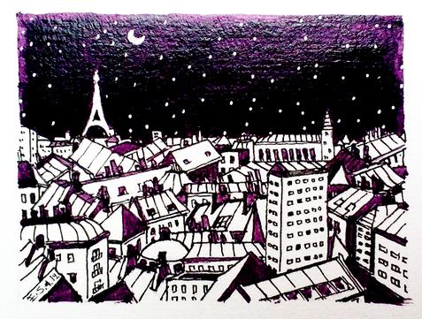 Paris et La Tour Eiffel en violet