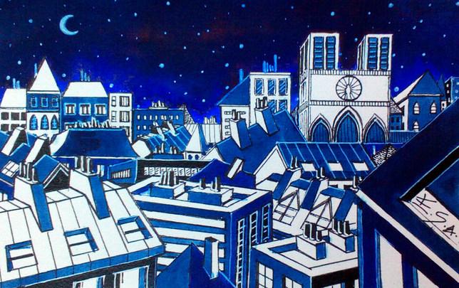 Les toits de Paris-vue sur Notre Dame. Rooftops of Paris - Notre Dame. Elitsart.19.
