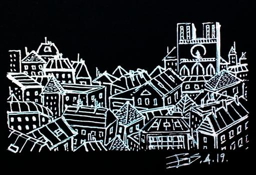Les toits de Paris en noir et blanc