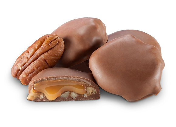 Milk Chocolate Mini Pecan Caramel Patties 1/4 pound