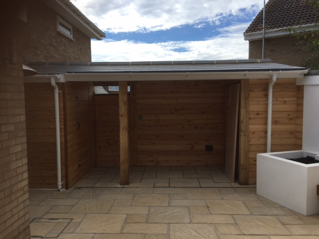 Outdoor bar area and storage.