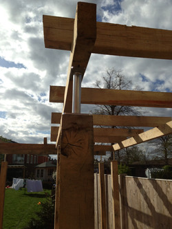 Pergola with bespoke steelwork