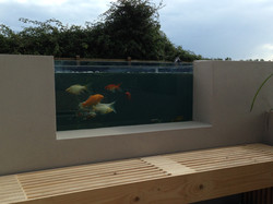 Koi pond with viewing feature panel