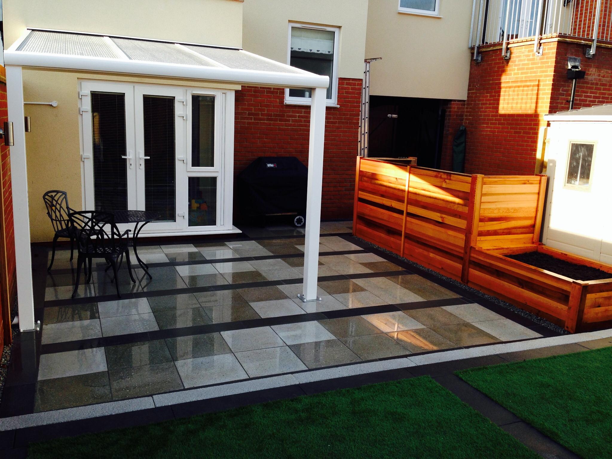 main patio with cedar screens