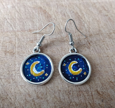 New Moon Hand Painted Earrings