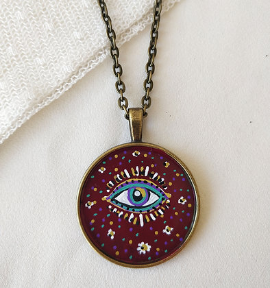 Intuitive Eye Medium Hand-Painted Necklace