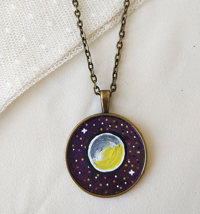 Full Moon Medium Hand-Painted Necklace