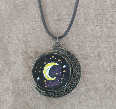 Purple Moon Double Sided Hand Painted Necklace