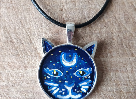 Spiritual Kitty Hand Painted Necklace