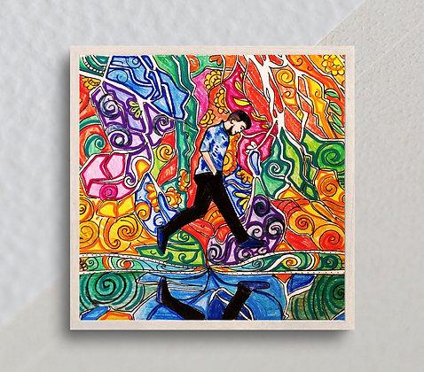 "Contemplation | 7"" x 7"" Original Painting on 300 GSM Paper"