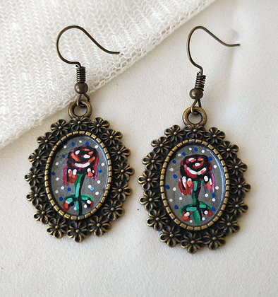 Dripping Rose Hand-Painted Bronze Alloy Earrings