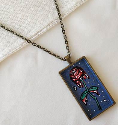 Dripping Rose Large Hand-Painted Necklace
