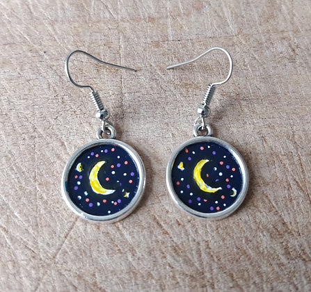 Purple Moon Hand Painted Earrings
