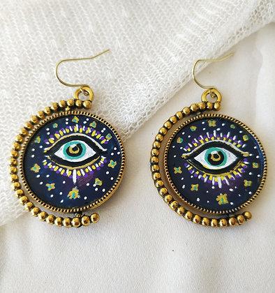 Intuitive Eye Hand-Painted Bronze Bezel Earrings