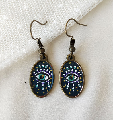 Intuitive Eye Double Sided Hand-Painted Bronze Brass Earrings