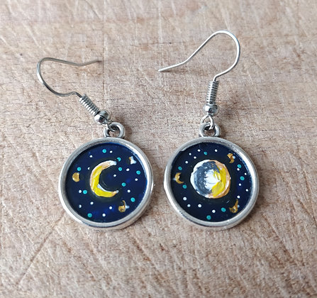 New Moon | Full Moon Hand Painted Earrings
