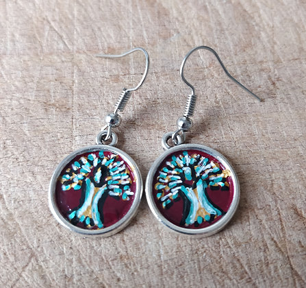 Tree of Life Hand Painted Earrings