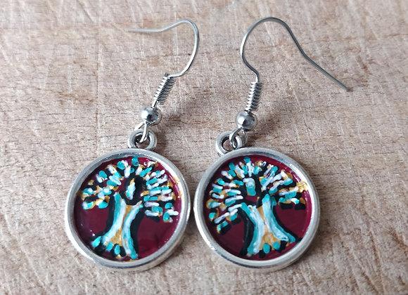 Tree of Life Hand Painted Earrings