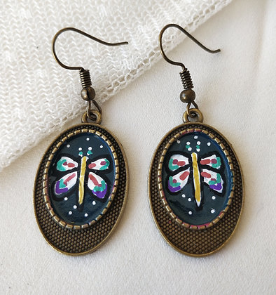 Dragon Fly Hand-Painted Bronze Alloy Earrings