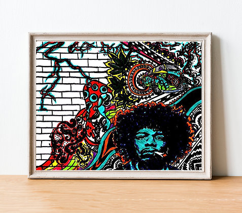 Hendrix Print   A4 & A3 Size