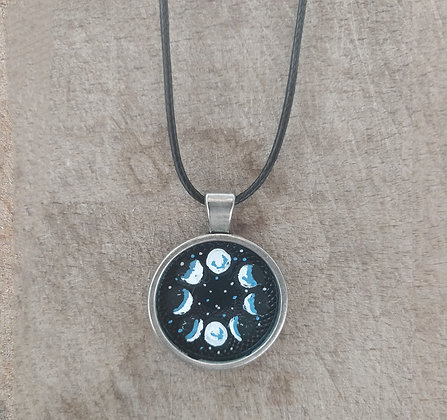 Moon Cycles Hand Painted Necklace
