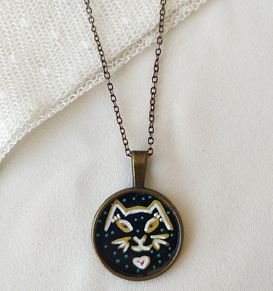 Kitty Love Small Hand-Painted Necklace