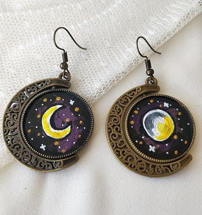 Full Moon   New Moon Double Sided Hand-Painted Bronze Bezel Earrings