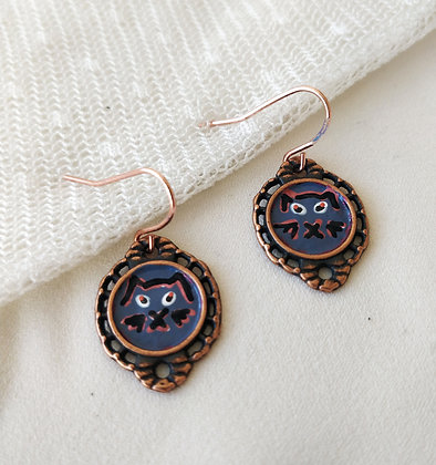Kitty Hand-Painted Rose Gold Brass Earrings