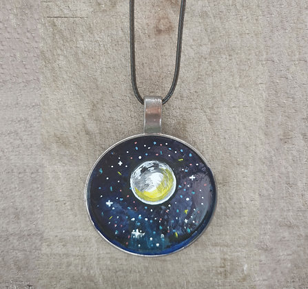 Take Me To The Moon Hand Painted Necklace