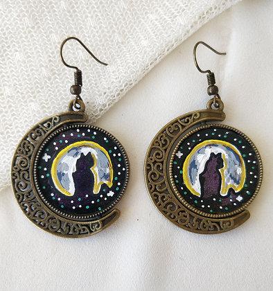Cat Under The Moon Hand-Painted Bronze Bezel Earrings