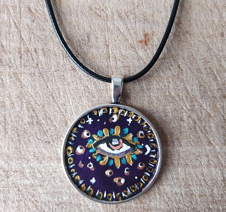Intuitive Eye Hand Painted Necklace
